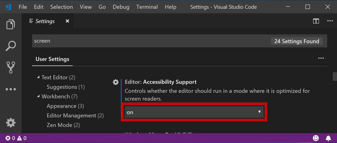 Visual Studio Code の「アクセシビリティ サポート」設定